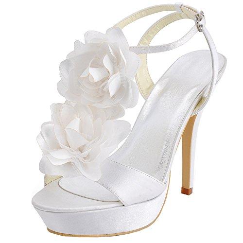 Sandals Flat Silver Sparkle (Kevin Fashion Damen Modische Hochzeitsschuhe, Beige - Beige - Marfil - Größe: 43)