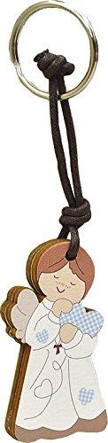 Fabula prima comunione - set pz 3 portachiavi in legno angelo cuore cielo - dimensioni cm 5x7 - spessore mm 8 - cod. 160151b