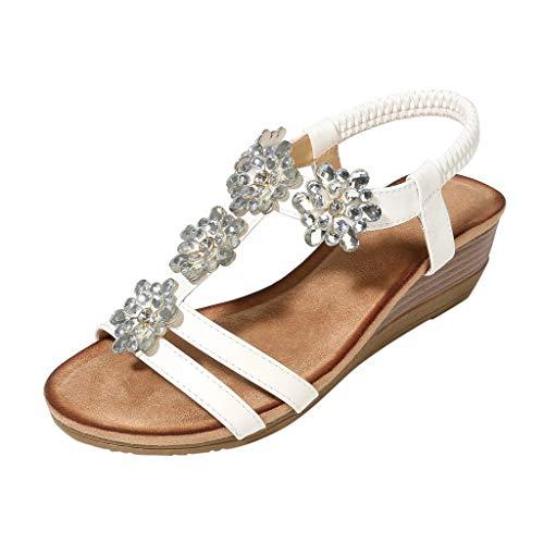 Breathable Strand Sandalen Leopard Schnalle Quadrat Ferse Schuhe mit offenen zehen fischmund atmungsaktivem Strass Wort weiblichen(Weiß,36EU) ()
