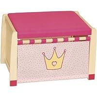 Preisvergleich für roba 98438 - Spielzeugtruhe Krönchen, Massivholz unbehandelt, gepolsterter Sitz, Front stoffbespannt 36 x 57 x 38 cm