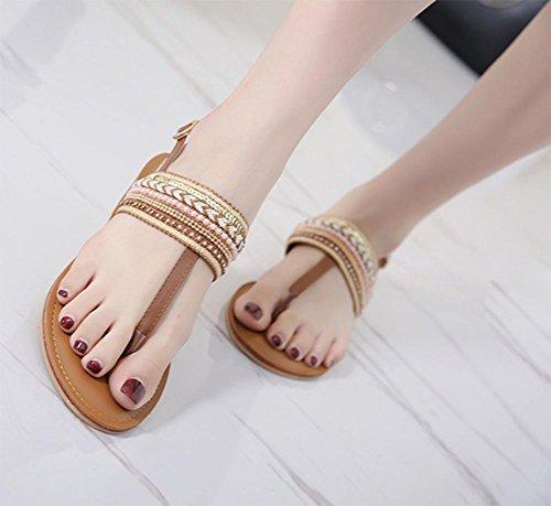 Creux sandales plates et pantoufles pantoufles sandales femmes tong nationales drag vent sandales dété des femmes marron foncé