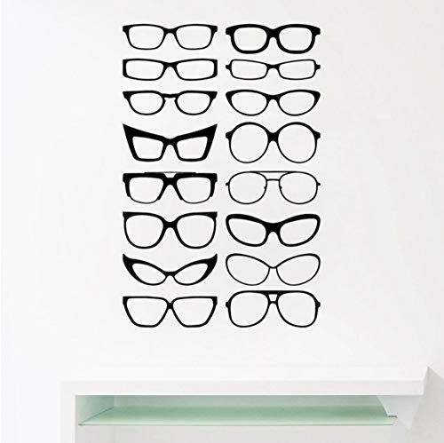 Pbbzl Brillen Specs Rahmen Vinyl Wandaufkleber, Brillen Frames Art Decals Optisch Shop Optiker Büro Fenster Tür Dekor 56X37 Cm