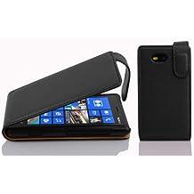 Cadorabo - Funda Flip Style para Nokia Lumia 820 de Cuero Sintético - Etui Case Cover Carcasa Caja Protección en NEGRO-ÓXIDO