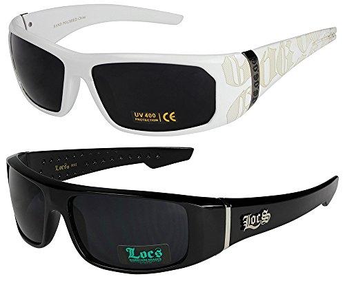 2er Pack Locs Sonnenbrillen Motorradbrille Sportbrille Radbrille - 1x OG 2003 weiß und 1x Locs 9041 schwarz