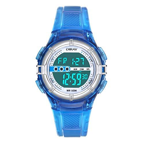 Digitale Armbanduhr, Jungen Digitaluhren Jungenuhr Sport Kinder Uhr Mädchen Jungenuhr Wasserdicht Sportuhren Digital Kinderhr (Jelly Darkblau)