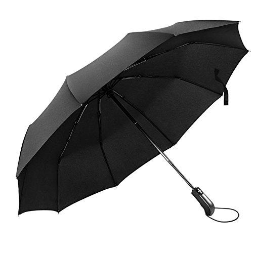 Regenschirm Taschenschirm, Jr.Hagrid 10 Edelstahl-Rippen Wasserabweisende Teflon-Beschichtung, Kompakt,Leicht&klein-Winddicht stabiler Schirm mit voll-automatischer Auf-Zu-Automatik,105cm, Schwarz