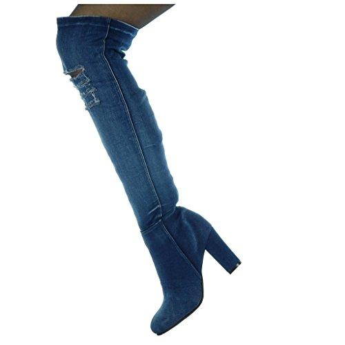 Angkorly - Scarpe da Moda Stivali Alti cavalier Jeans Denim flessibile donna strappati Tacco a blocco tacco alto 8.5 CM Blu scuro