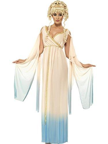 (Damen Griechische Göttin Prinzessin Aphrodite Römische Toga Maxi Kostüm Kleid Outfit UK 12-22 Übergröße - Beige, 16-18)