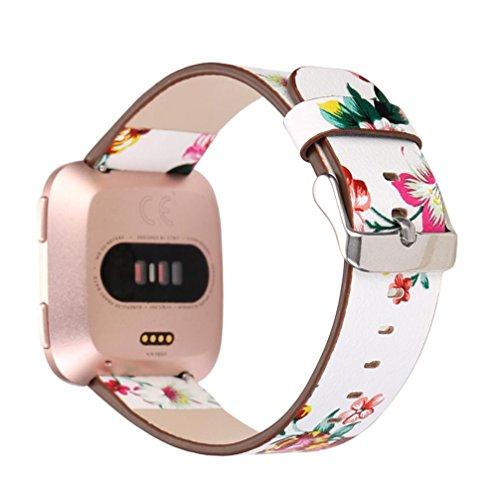 Upxiang Ersatz-Uhrenarmband für Fitbit Versa, Mode-Muster Lederarmband Uhrenarmband für Fitbit Versa (A)