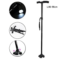 niceEshop(TM) Folding Canes Walking Stick with LED Light Sponge Handle 5 Adjustable Height Levels for Men Women