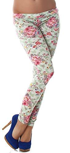 P.F. Leggings lang mit Muster in verschiedenen Designvarianten hellgruen Blume
