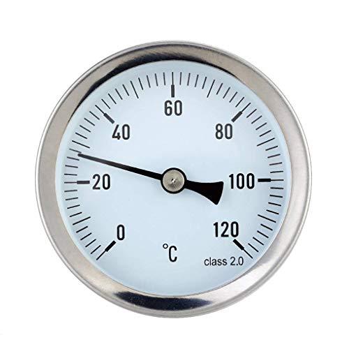 Nowear Wasserdicht 0-120 ° C Aluminium-Heißwasserrohr-Thermometerrohr-Heißwasserheizung 63 mm Messuhr-Temperaturanzeige