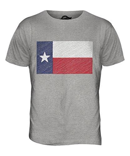 CandyMix Bundesstaat Texas Kritzelte Flagge Herren T Shirt Grau Meliert