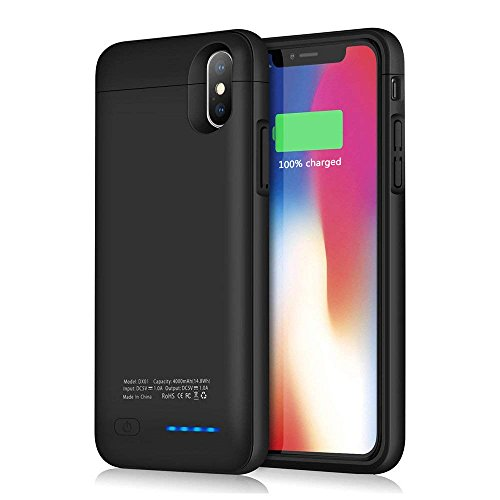 Hovast Cover Batteria iPhone X/10, 4000mAh Custodia Ricaricabile con Batteria Esterna Caricabatterie Custodia Portatile Battery Protettiva Case per iPhone X /10 [5.8''] Power Bank Backup Charger Case