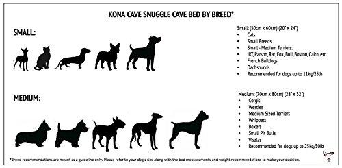 Kona Cave – Eine Kuschelhöhle für ihren Hund, Luxus Hundebett zum reinkriechen, klassisch, elegant, hochwertig, das beste Bett für Hunde, die gerne unter die Decke kuscheln (Klein, Flanell, Grau) - 6