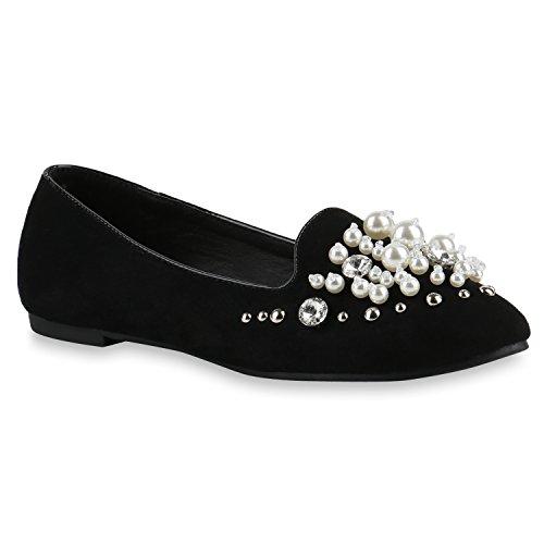 Damen Slipper Loafers Schleifen Glitzer Flats Profilsohle Schuhe 141961 Schwarz Perlen Steine 37 | Flandell® (Perlen Flats Loafers)