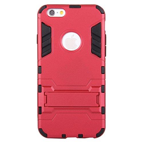 Phone case & Hülle Für iPhone 6 / 6s, Trennbare TPU + PC Kombi-Gehäuse mit Halter ( Color : Gold ) Red