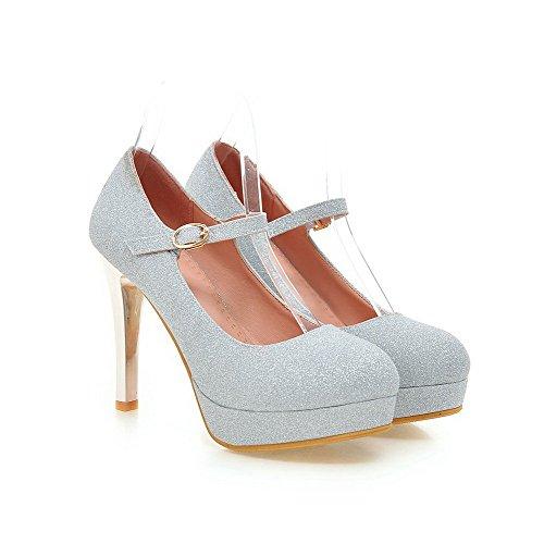 VogueZone009 Femmeà Talon Haut Matière Souple Couleur Unie Boucle Chaussures Légeres Argent
