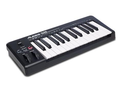 Alesis Q25 USB MIDI Keyboard Controller mit 25 Tasten Softwaresteuerung mit Pitch und Modulation Wheels, Octave Up und Down Buttons und Inklusive Ableton Live Lite