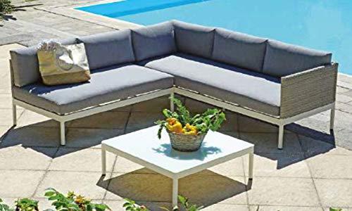 PEGANE Salon de Jardin Design en Aluminium Blanc et Osier Gris chiné
