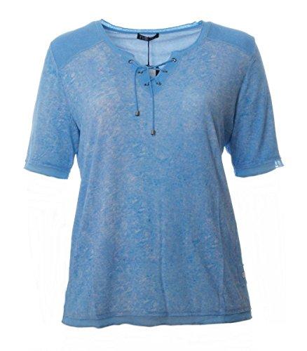 No Secret T-Shirt mit Schnürung Damen Hell-Blau Meliert Große Größen XL XXL Baumwolle, Größe:46
