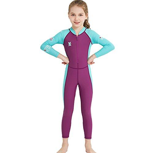 NCBH Kinder-Neoprenanzüge für Mädchen Lycra Ganzkörper-UV-Schutz Tauchen Einteiliger Thermal-Badeanzug zum Schwimmen/Schnorcheln/Bootfahren,S