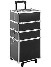 TecTake Alu Kosmetik Trolley Kosmetikkoffer Beauty Koffer   mit Teleskopgriff und 2 Rollen   abschließbare   60 Lieter   Schwarz