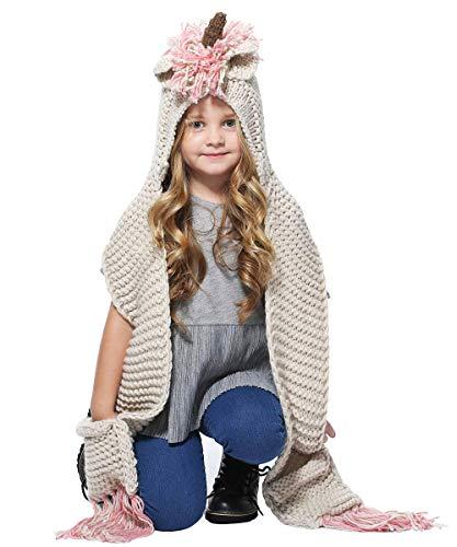 Sombrero de unicornio con bufanda, sombrero de punto de unicornio para niñas, bufanda con capucha, sombrero de invierno bufanda, bolsillo con capucha para tejer, fiestas y cosplay regalos rosa Small