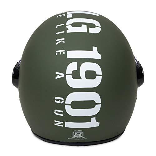 Royal Enfield Matt Battle Green Open Face with Visor Helmet Size (L)58 CM (RRGHEL000053)