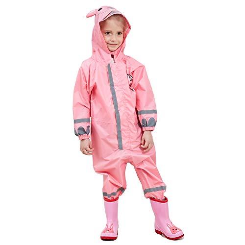 Bwiv tuta impermeabile bambino poncho antipioggia bambina con cappuccio leggero con striscia riflettente unisex per bambini 3-10 anni rosa(coniglio) marca s 3-5 anni/statura: 90-105cm