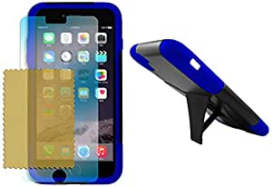 Maxtron iPhone 6 Plus Rugged Hybrid Hard T-Stand Dual Armor Case Cover and Screen Protector - Non-Retail Packaging - Blue