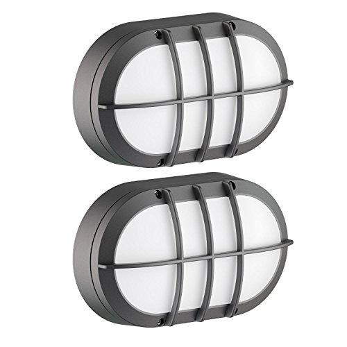 ledscom.de Ovalleuchte Tabit mit Gitter Aluminium, Outdoor, schwarz, inkl 2X LED GX53 6,3W Lampe warm-weiß, 2 STK.