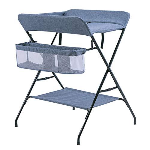Tables à langer avec Panier De Rangement Pliable pour Bébé Unité Portable Santé Soins du Bébé Bleu