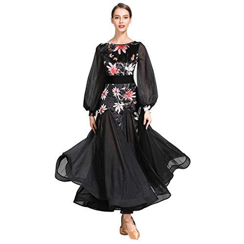 DRESSS Weinlese-Palast-Hülsen-moderner Tanz-Kleid, erwachsenes Damen-Kostüm-Gesellschaftstanz-Kleid (Farbe : Schwarz, größe : ()