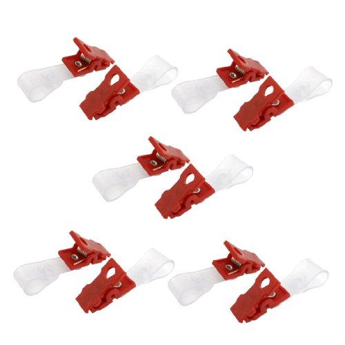 10PCS Kunststoff ID Karte Halterung für Namensschild Badge Gurt Clip rot transparent