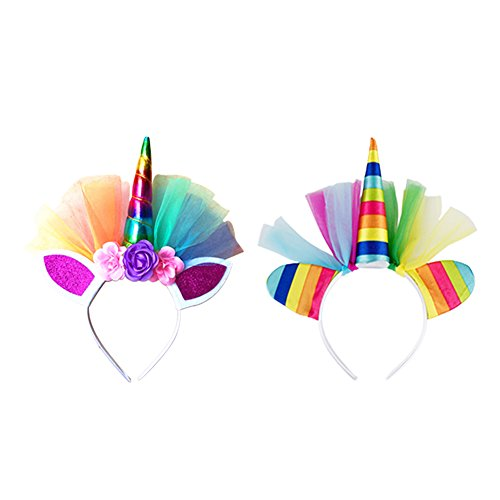 ny Mädchen Prinzessin Party Rainbow Einhorn Blume Stirnband Tutu Rock Kostüm Kit (Stirnband x2) (Kind Kostüme Kit)