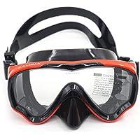 Harlls AM-100J Niños Kid Sola Capa Impermeable Antiniebla Máscara de Buceo de Silicona Wide Field Vision Gafas de Buceo Equipo de Natación - Rojo