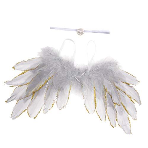 perfeclan Federflügel + Haarband Set, Baby Cospaly für Engel - Silber