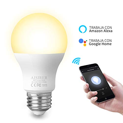 AISIRER Smart LED Bulb 9W WiFi Lamp LED WiFi Smart Bulb E27 No Hub Required 2700K-6500K 60W Equivalent 800LM Bulb with Amazon Echo and Google Home 1 Pack