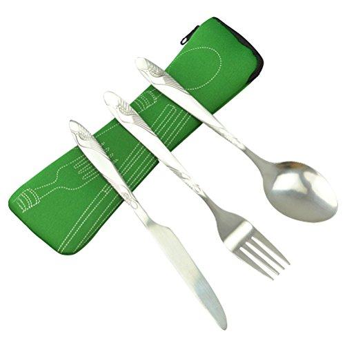 BESTONZON 3 STÜCKE Edelstahl Geschirr Set Umfassen Messer, Gabel, Löffel, Taschen - Tragbare Reise Besteck Leichte Reise/Camping Besteck (grün)