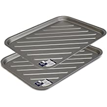 Oven Tray Twin Pack - Teflon Non Stick Large Crisping Trays, Reinforced Sturdy Tins by Lets Cook Cookware