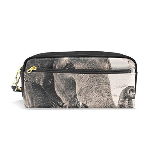 Mnsruu - Estuche de piel sintética con diseño de elefante, color gris