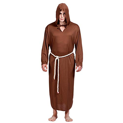 ay Costume Men Monk Priest Solid Hooded Cloak Cape Robe ()