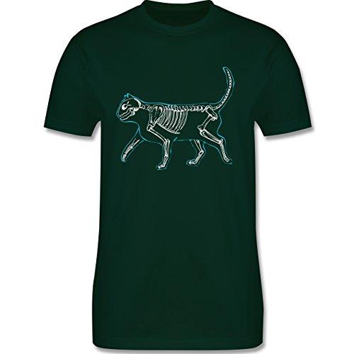 Shirtracer Katzen - Spooky Cat - Herren T-Shirt Rundhals Dunkelgrün