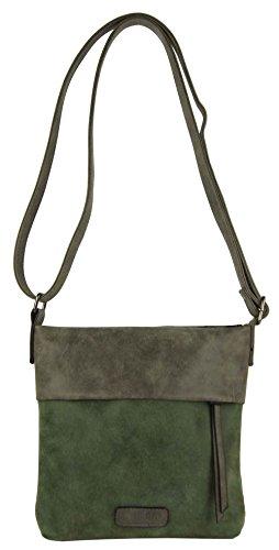 CASAdiNOVA Umhängetasche Damen Grün - Handtasche Damen Leder Vegan - Vintage Schultertasche - Hochwertige Tasche Klein (S 22x22x4 cm) - Damen Tasche Grün