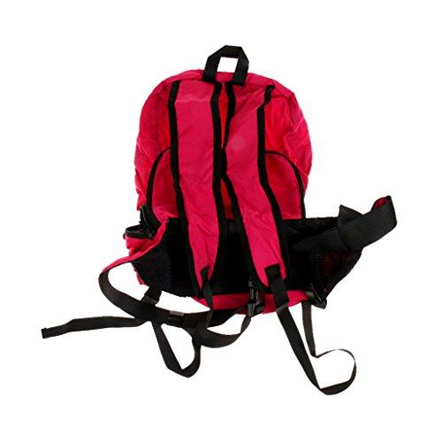Generic Grande Pieghevole Viaggio Zaino Escursionismo Trekking Sport Zainetto Borsa Marsupio - Verde militare Rosa rosso