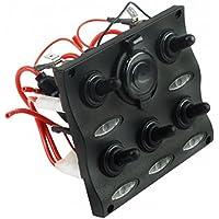 Panel eléctrico Estaño con 5interruptores y toma encendedor negro barco