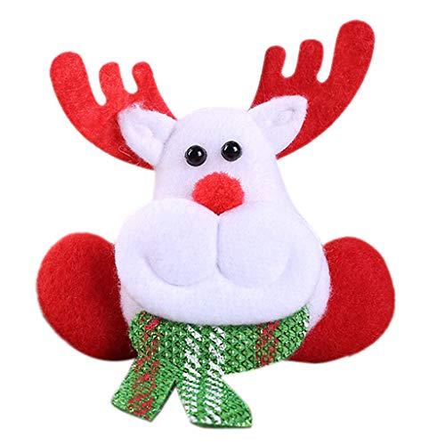 Weihnachts-LED-Licht Leuchtende Pin Broschen Plüsch Schneemann Hirsch Puppe Party Ornament