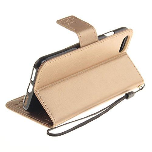 WYSTORE Premium Folio Cuir [Pissenlit Violet Motif] Embossing Portefeuille avec Cordon Lanyard Retro Housse pour Apple iPhone 7,Support Flip PU Leather Wallet Case (rose) d'or