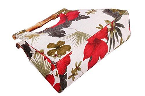 Hibiskus Hawaii Flower Hibiskusblüten Rockabilly Bambus Handtasche -